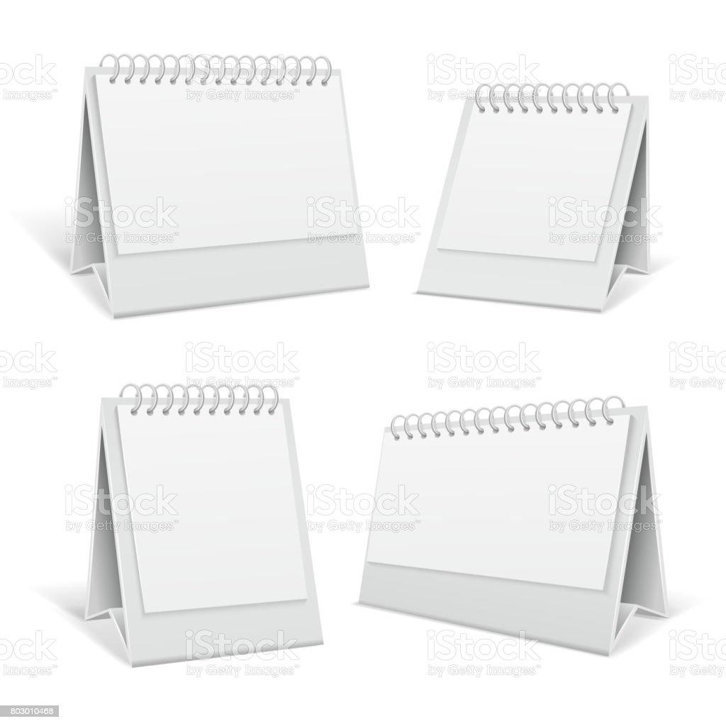 White blank table spiral 3d office calendars isolated vector illustration vector art illustration