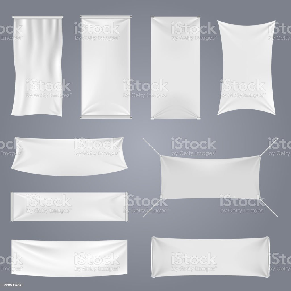 White blank textile advertising banners vector templates