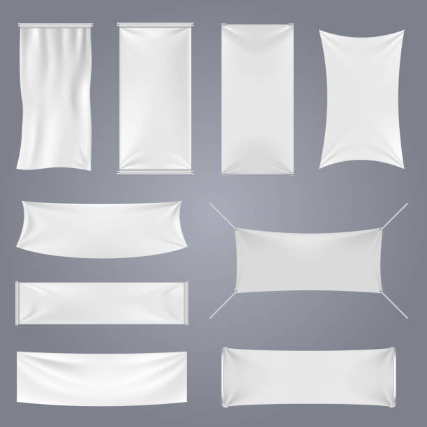 white blank textile advertising banners vector templates - vertical stock illustrations, clip art, cartoons, & icons