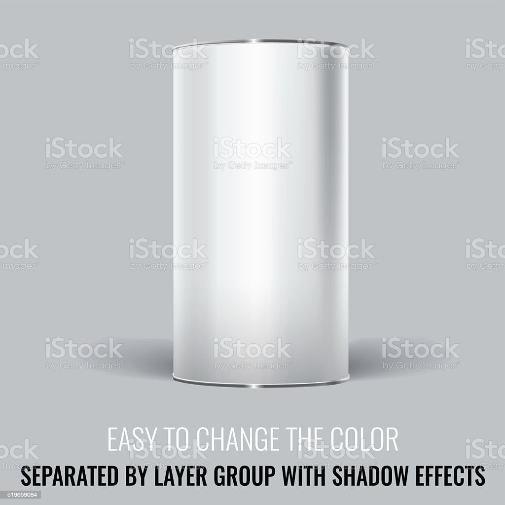 White Blank Tincan packaging. Vector Mock up design. vector art illustration
