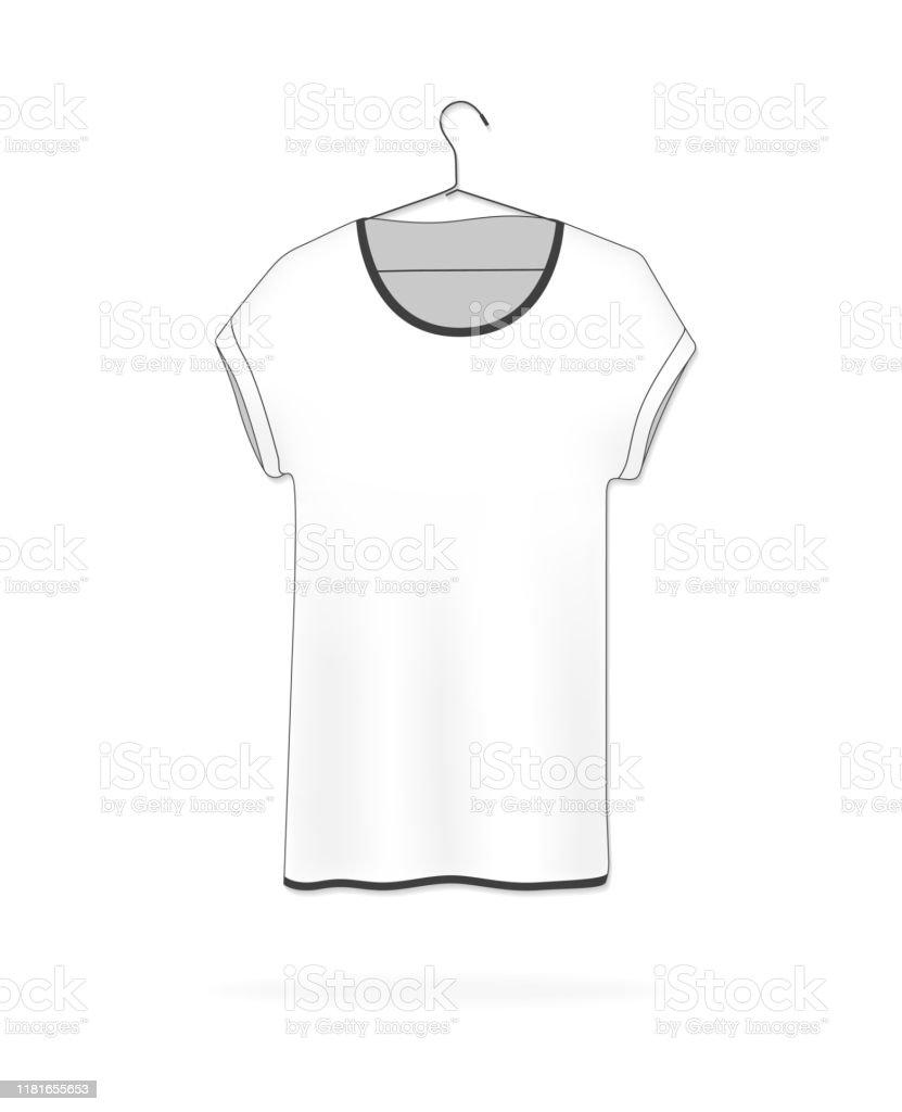 White Blank Tshirt Hanging On A Hanger Vector Illustration Tshirt