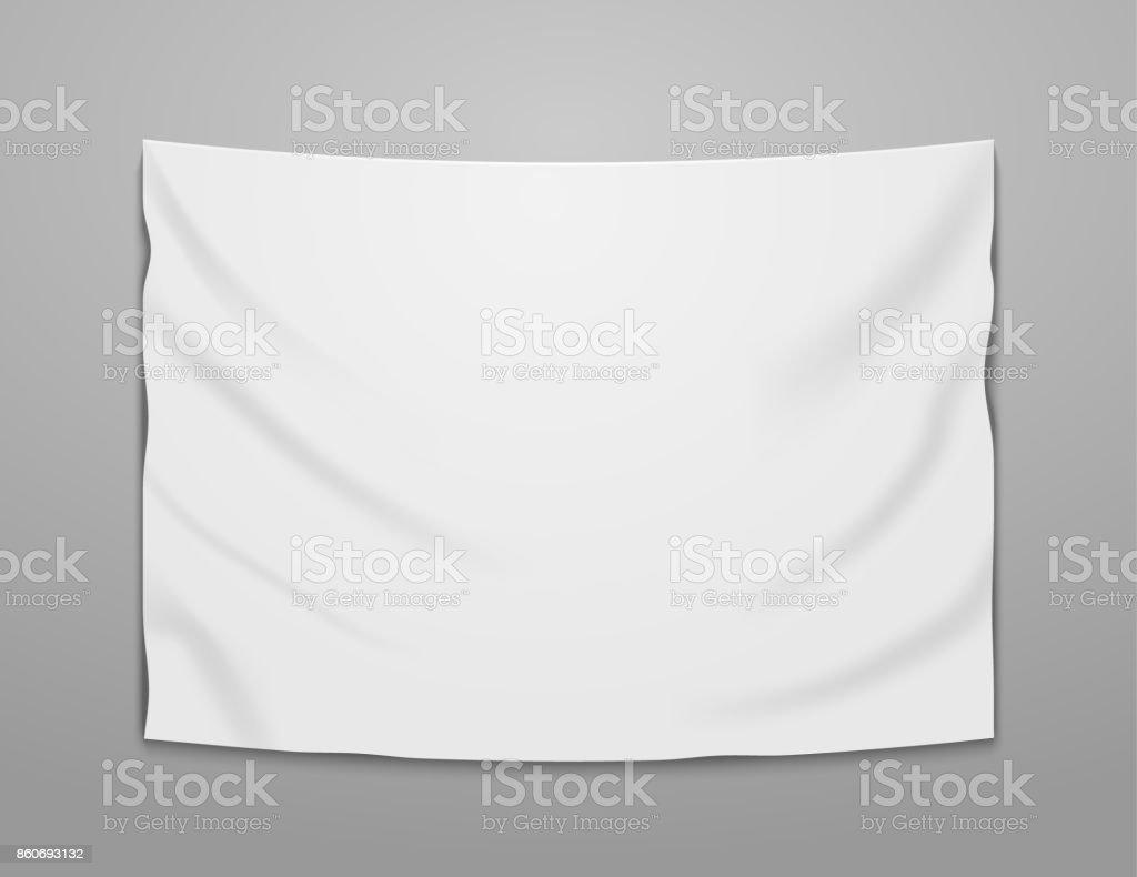 White blank vector banner textile. Empty hanging fabric banner illustration design vector art illustration