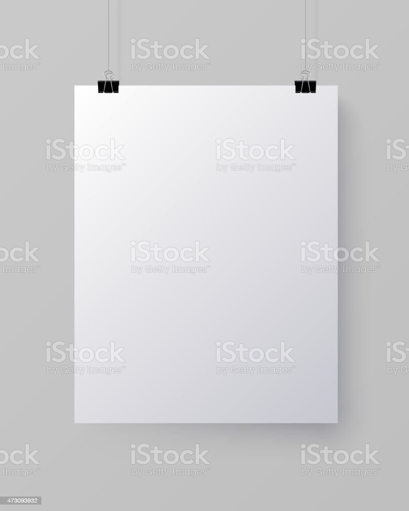 White blank vertical sheet of paper, vector mock-up vector art illustration