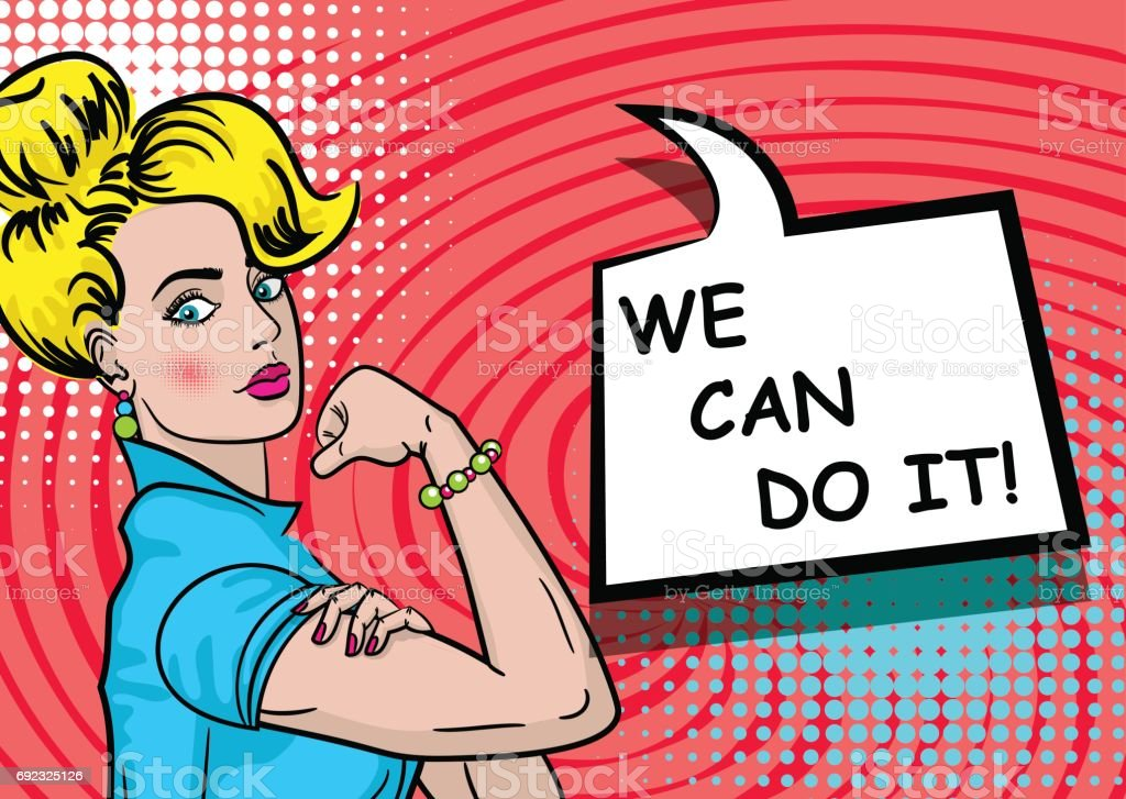 White blonde woman WE CAN DO IT royalty-free white blonde woman we can do it stock illustration - download image now