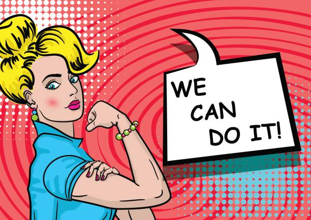 White blonde woman WE CAN DO IT vector art illustration