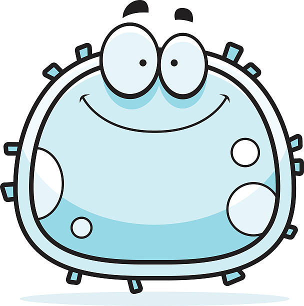 White Blood Cell Smiling A cartoon illustration of a white blood cell smiling. white blood cell stock illustrations