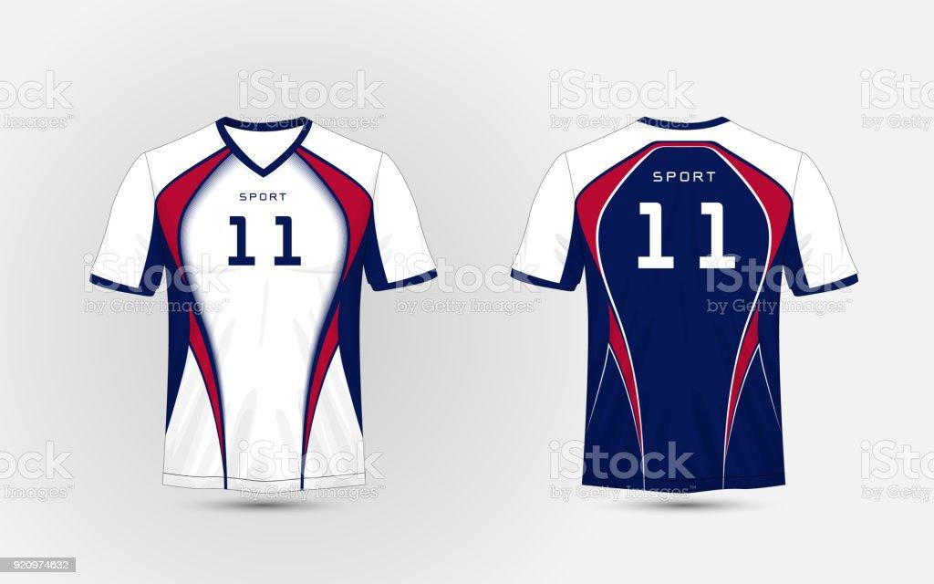 Ilustración de Kits De Fútbol Deporte Blanco Azul Y Rojo Jersey ...