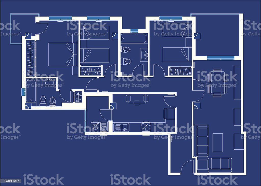 White blueprint of a house on blue background stock vector art white blueprint of a house on blue background royalty free stock vector art malvernweather Images