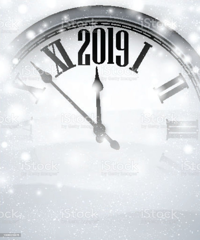 white blurred 2019 new year background with grey clock royalty free white blurred 2019