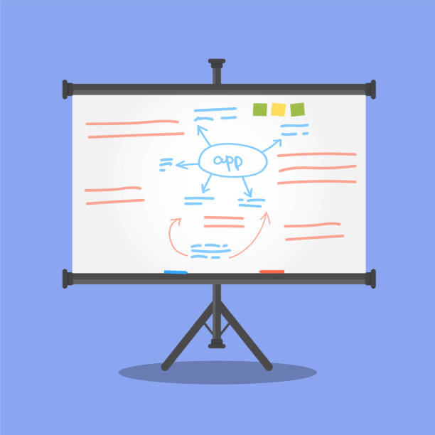 weiße tafel auf stativ - flipchart stock-grafiken, -clipart, -cartoons und -symbole