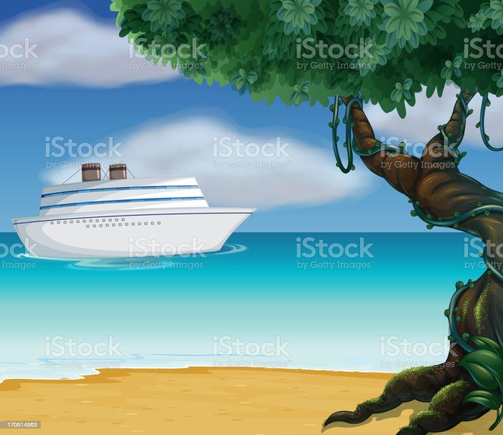 White boat royalty-free stock vector art