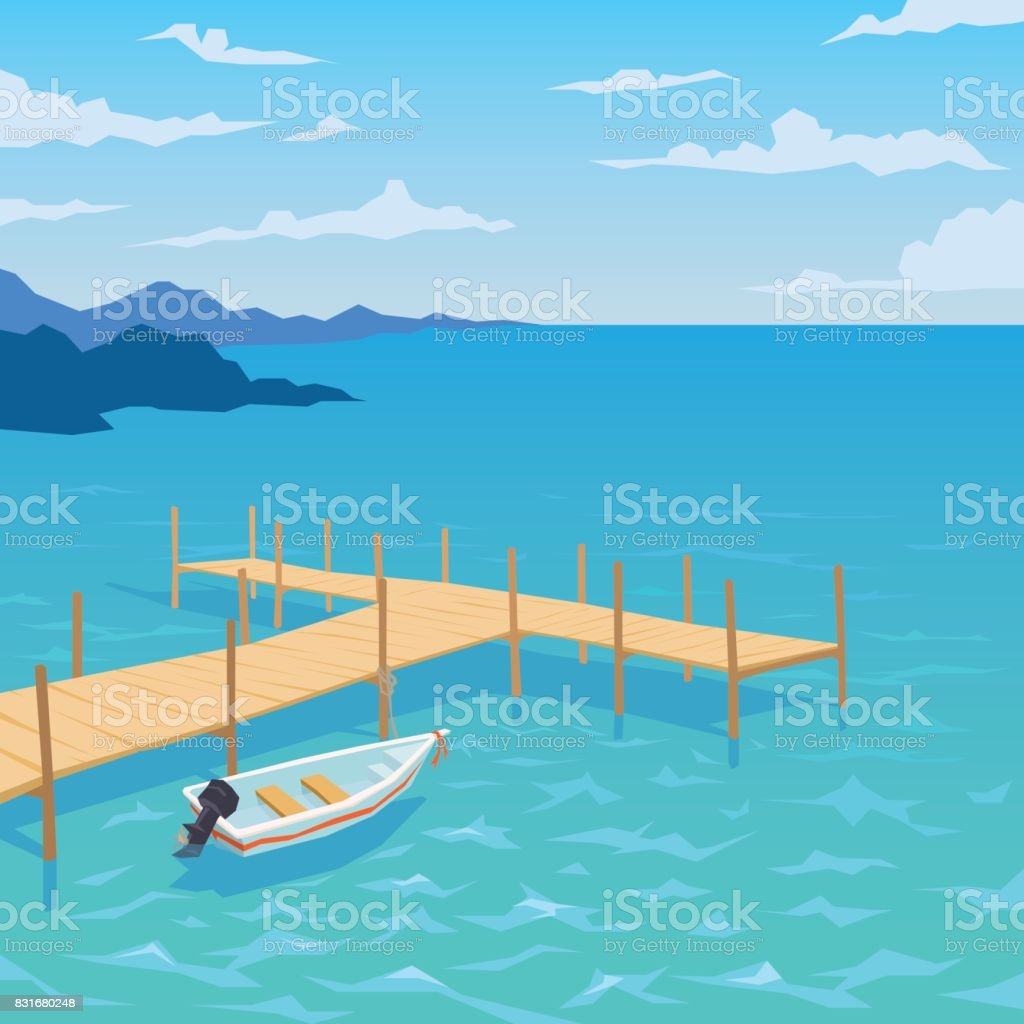 White boat with motor andwooden dock. vector art illustration