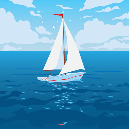 White boat with sail and red flag.