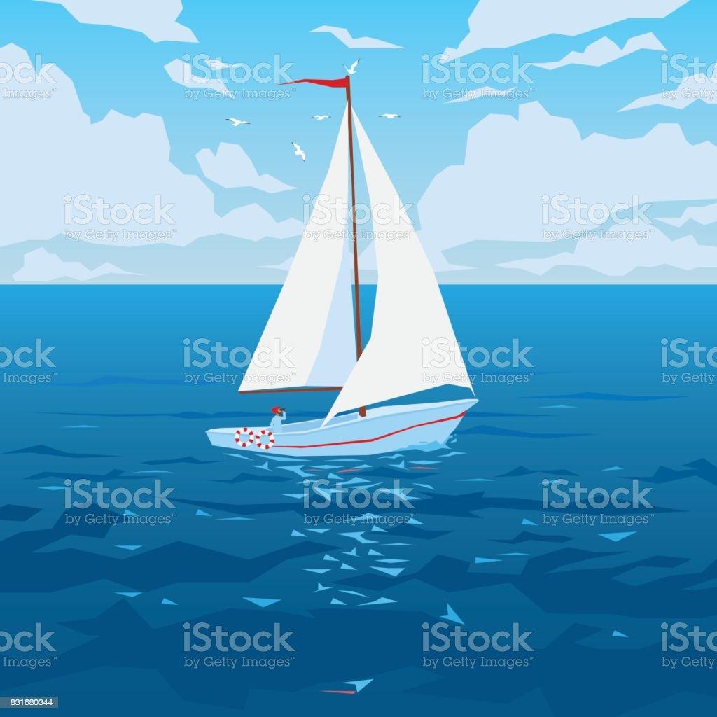 白い帆と赤旗のボート。 ベクターアートイラスト