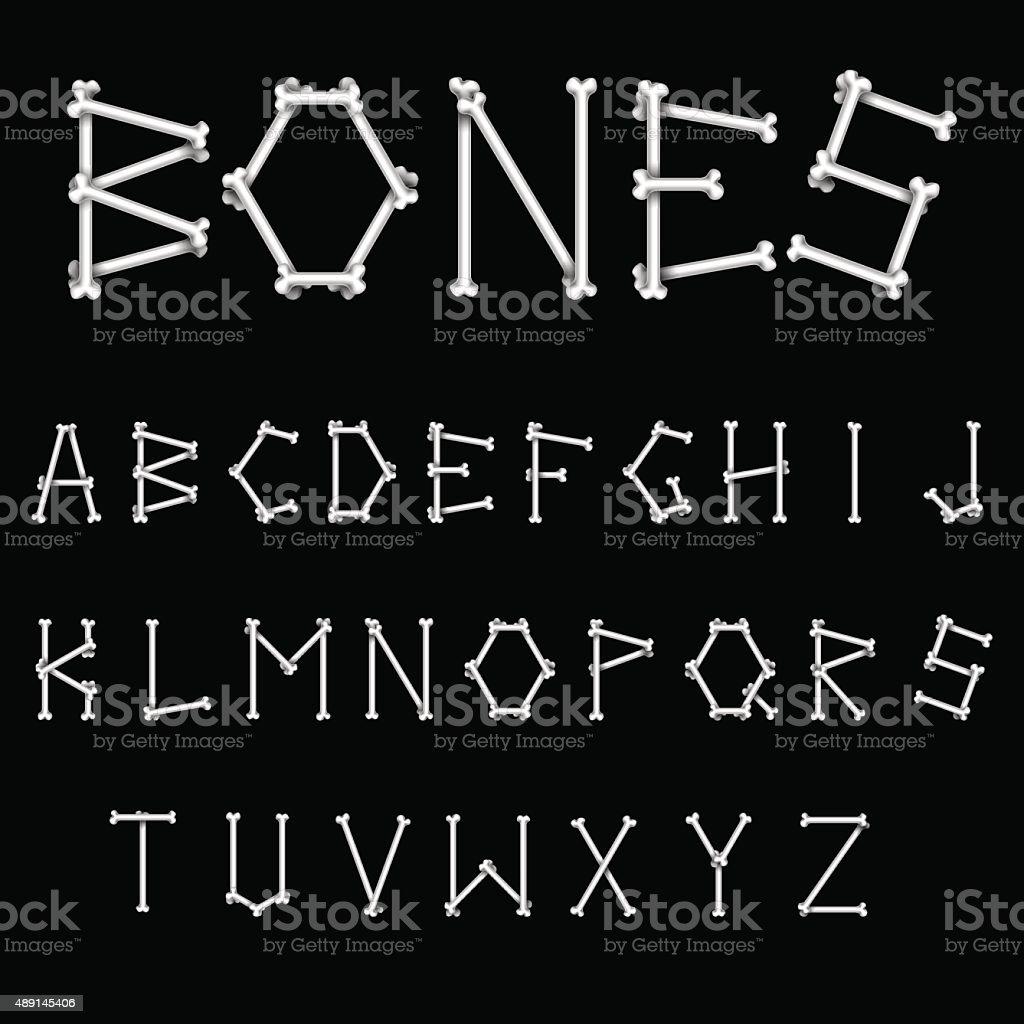 White Bones Font vector art illustration