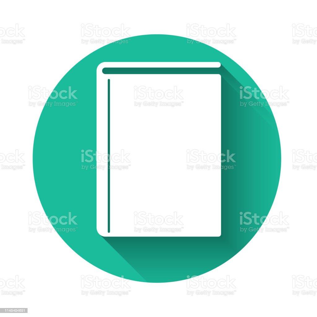 Icone De Livre Blanc Isole Avec Une Longue Ombre Bouton De