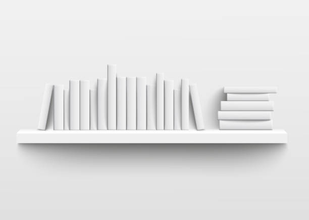 ilustrações de stock, clip art, desenhos animados e ícones de white book shelf mockup on the wall, 3d realistic design of minimalist bookshelf with blank hard cover books - prateleira mobília