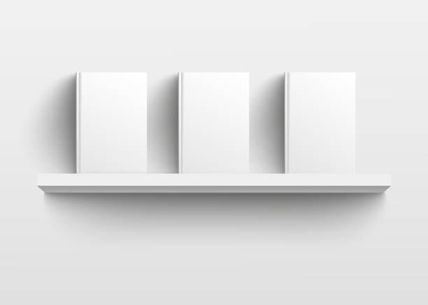 stockillustraties, clipart, cartoons en iconen met witte boekenplank model met drie boeken, realistische lege template ontwerp met lege harde dekt facing front - boekenkast