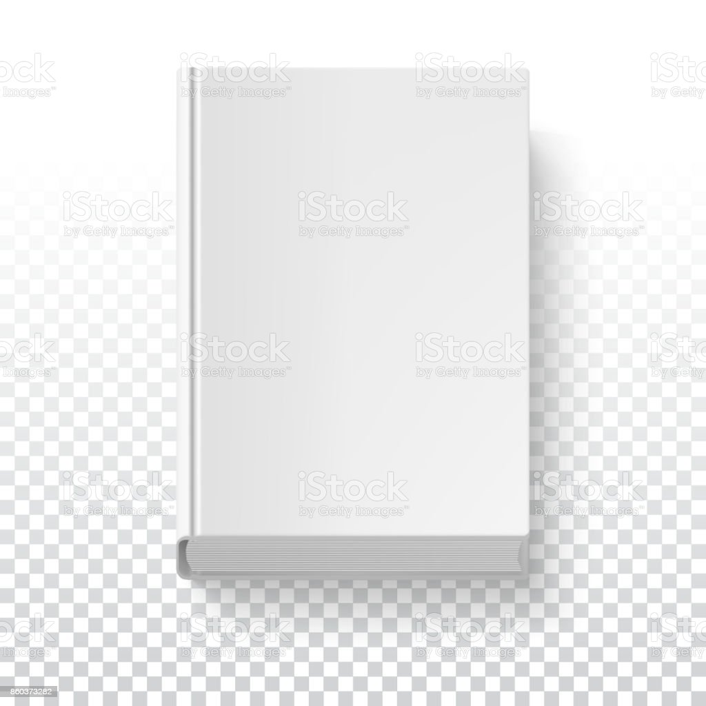 white book template on transparent background with accurate shadow