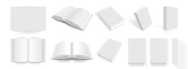 illustrations, cliparts, dessins animés et icônes de livres blancs avec une couverture épaisse de différents côtés isolé sur fond blanc - ellen page