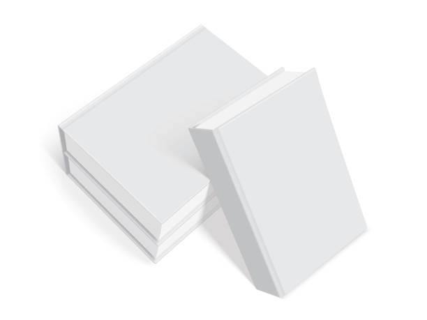 illustrations, cliparts, dessins animés et icônes de livres blancs avec couverture épaisse isolé sur fond blanc mock up vector - ellen page