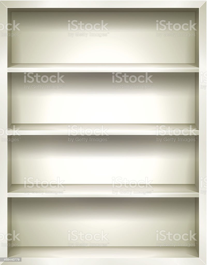 White Bookshelves Background vector art illustration