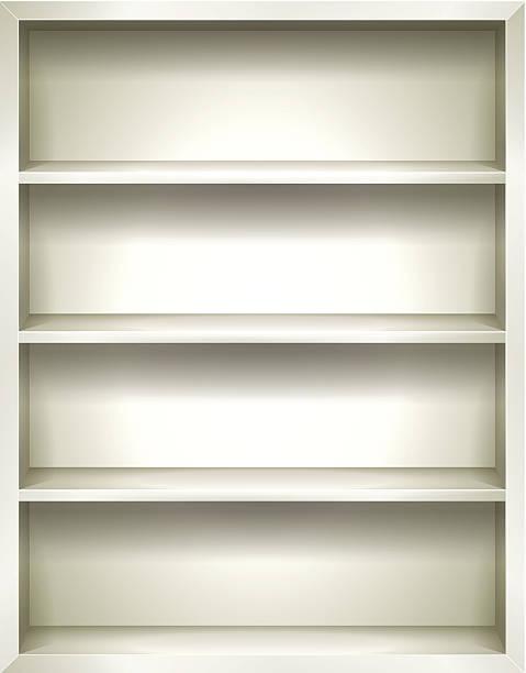 White Bookshelves Background vector art illustration