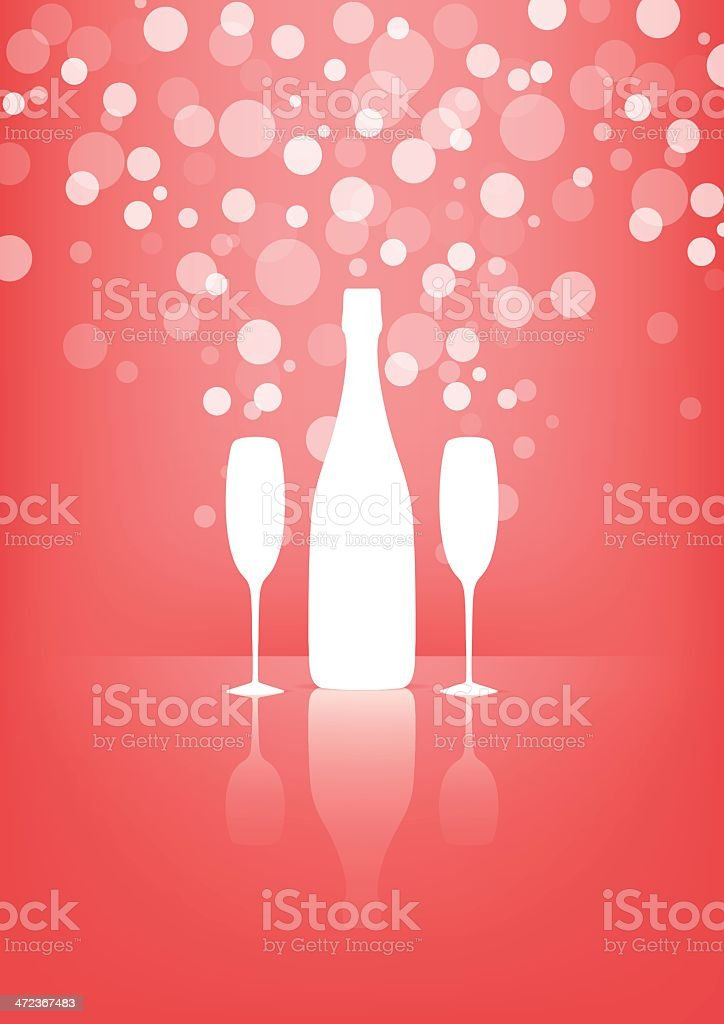 White Bottle and two glasses of champagne with transparent bubbles. vector art illustration