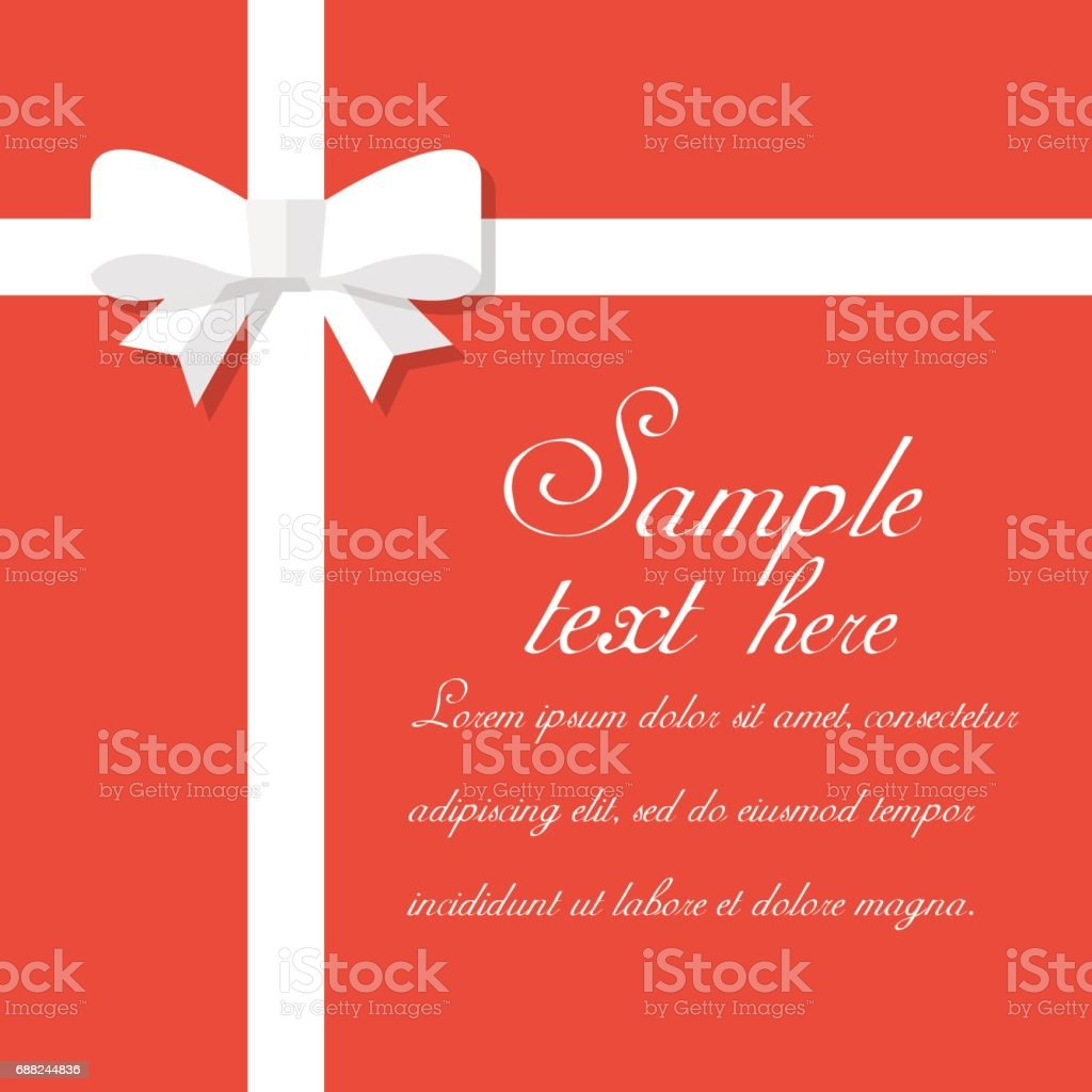 White bow isolated on red background vector art illustration
