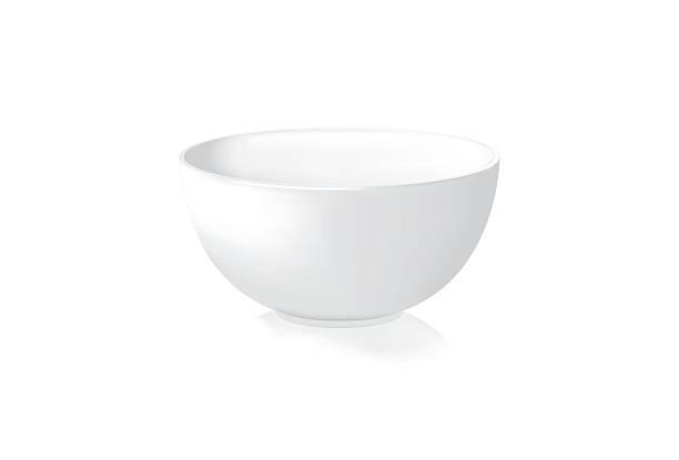 ilustrações de stock, clip art, desenhos animados e ícones de white bowl-vector illustration - tigela