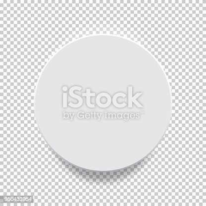 White box. Circle mock up model 3D top view with shadow.