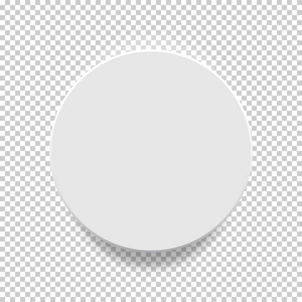 White box. Circle mock up model 3D top view with shadow. Vector illustration. White box. Circle mock up model 3D top view with shadow. cylinder stock illustrations