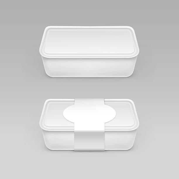 stockillustraties, clipart, cartoons en iconen met white box for cheese, sour cream with label - bevroren voedsel