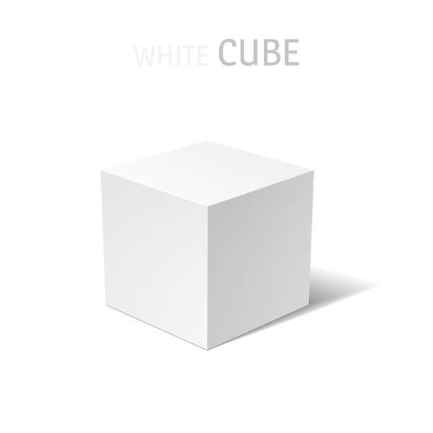 White box isolated White 3D box isolated on a white background. Vector design illustration cube shape stock illustrations