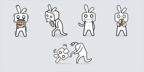 White box like rabbit robot cartoon character design.