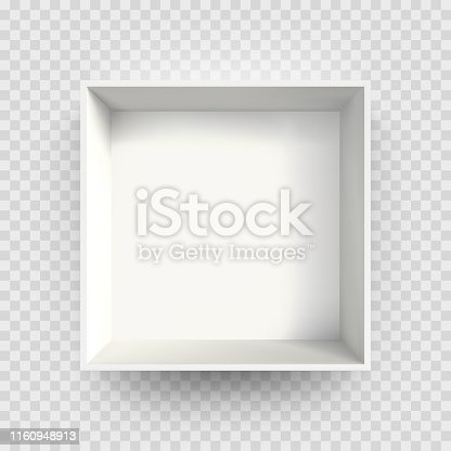 White box mock up 3D model 3D top view shadow. Vector isolated blank cardboard open white paper box package template on transparent background