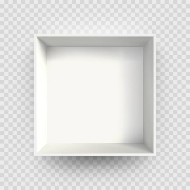 ilustrações de stock, clip art, desenhos animados e ícones de white box mock up 3d model 3d top view shadow. vector isolated blank cardboard open white paper box package template on transparent background - interior