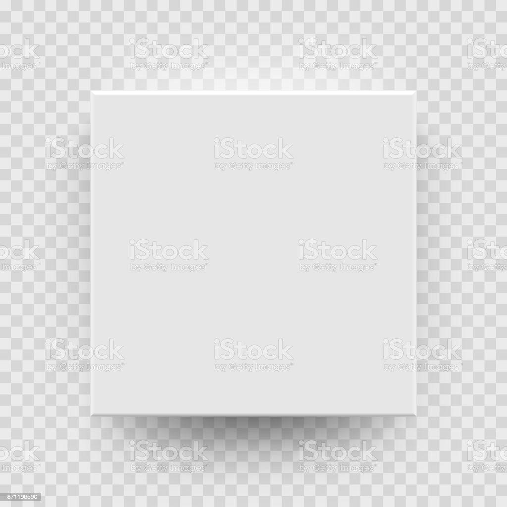 White box mock up model 3D top view model isolated transparent background