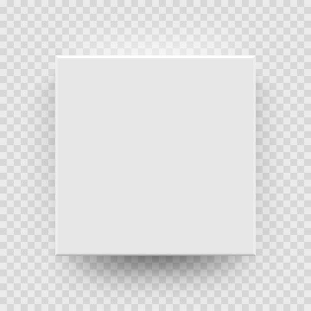 White box mock up model 3D top view model isolated transparent background White box mock up model 3D top view with shadow. Vector isolated blank cardboard open or white paper matchbook container box package template on transparent background square composition stock illustrations