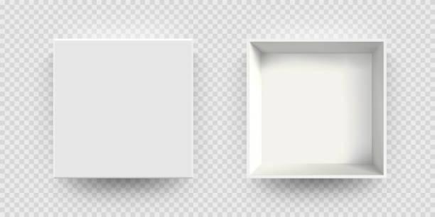 Weiße Box Mock-up Vektor 3D-Modell Top-Ansicht. Isolierte leere realistische offene Karton Karton Mockup Vorlage – Vektorgrafik