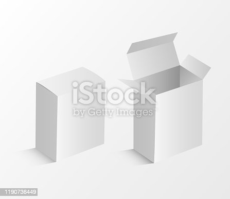 White box mockup. Blank packaging boxes, cube perspective view and cosmetics product package mockups 3d. Vector illustration