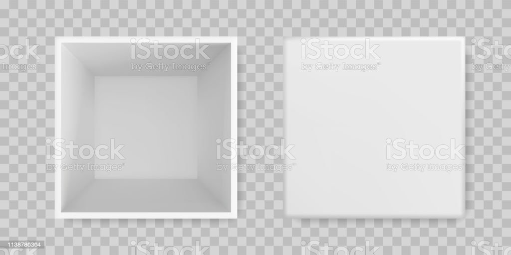 White box open mock up 3D model top view. Vector isolated blank...