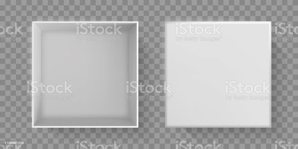 White box top view, 3D open package with cover top. Vector white...
