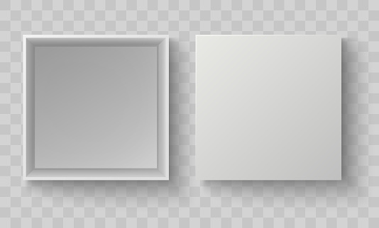 White box top view. Open pack box mock up. Empty blank realistic open cardboard paper box. Vector