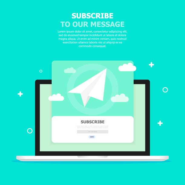illustrazioni stock, clip art, cartoni animati e icone di tendenza di a white box with a message subscription is displayed in the blue screen on the computer screen. - newsletter