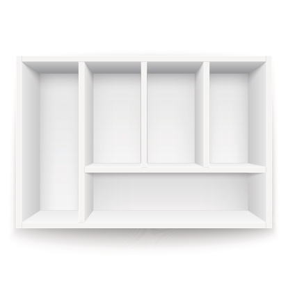 White box with separators.