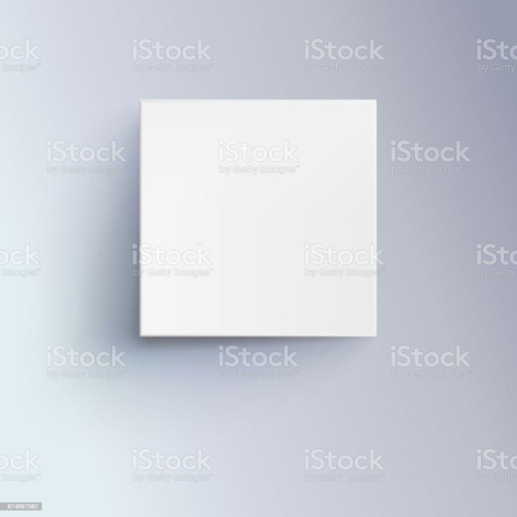 Boîte blanche avec shadow pour logo, texte ou dessin. 3D illustration isolé, vue de dessus. Icône de close-up cube - Illustration vectorielle