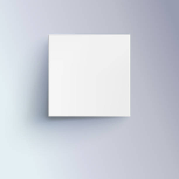 Bекторная иллюстрация White box with shadow for logo, text or design. 3D illustration isolated, top view. Icon of cube close-up