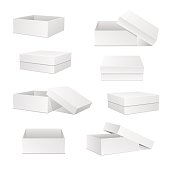 White boxes collection. Square box set. Open and closed presents. Cardboard packaging in front, top, side view. Realistic 3d isometric templates, package and container. Vector isolated mockups.