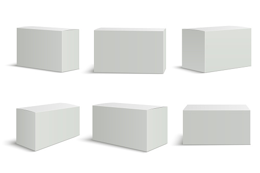 White boxes templates. Blank medical box 3d isolated paper packaging. Rectangle carton package vector mockup